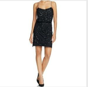 Aidan Mattox Black Sequined Dress Retail $295